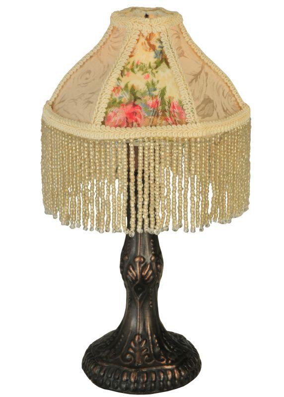 """Meyda Tiffany 131721 10"""" H Fabric & Fringe Roses Mini Lamp Ivory /"""