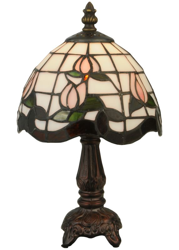 "Meyda Tiffany 132340 12"" H Roseborder Mini Lamp Pink Amber Lamps"