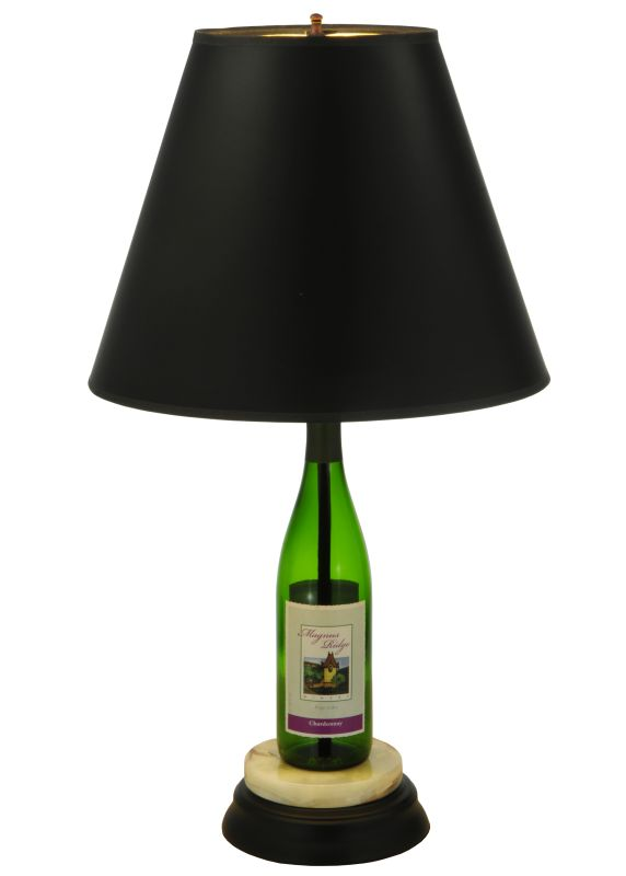 "Meyda Tiffany 134264 25.5"" H Personalized Wine Bottle Table Lamp Black"