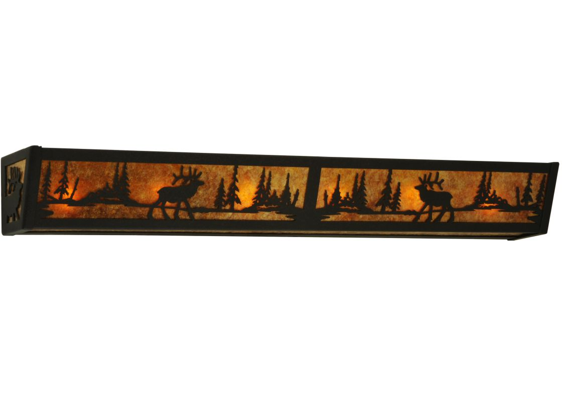 "Meyda Tiffany 134636 36"" W Elk At Lake Vanity Light Dark Roast / Amber"