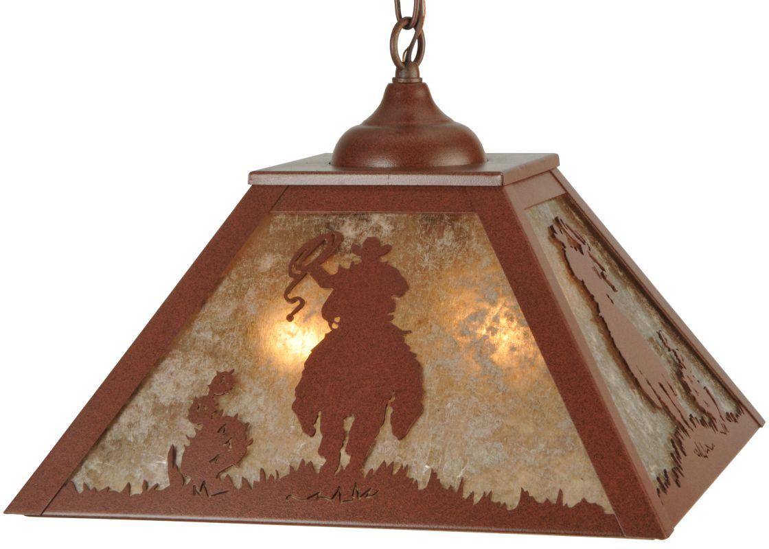 "Meyda Tiffany 134737 15.75"" Square Range Riders Pendant Rust / Silver"