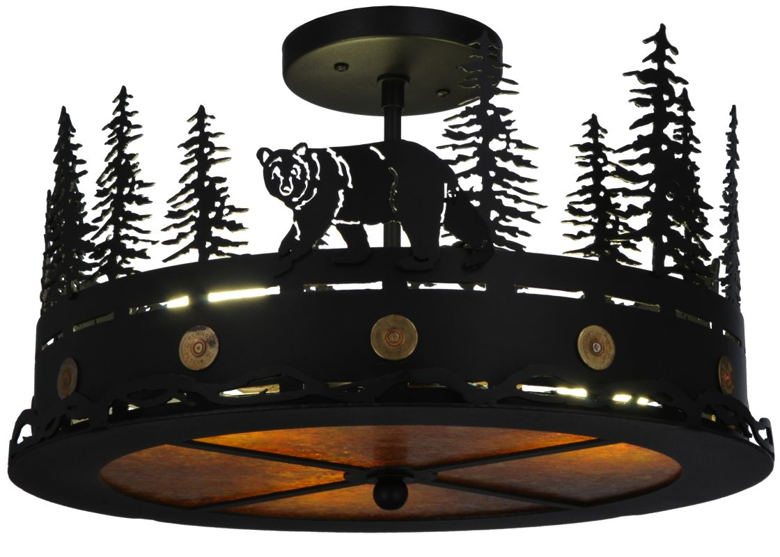 "Meyda Tiffany 134785 16"" W Northwoods Bear At Dusk Flush Mount Ceiling"