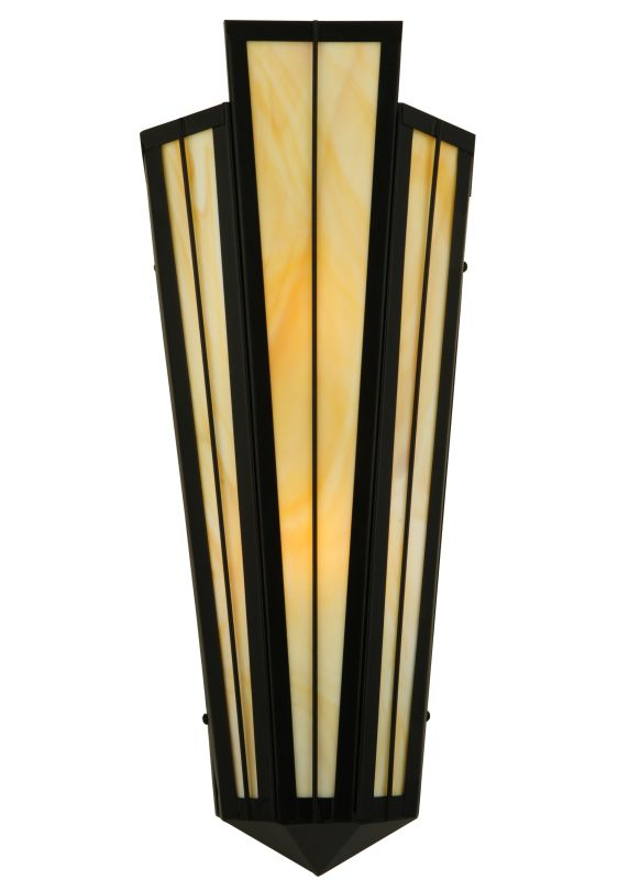 "Meyda Tiffany 135522 8.75"" W Brum Wall Sconce Black Indoor Lighting"