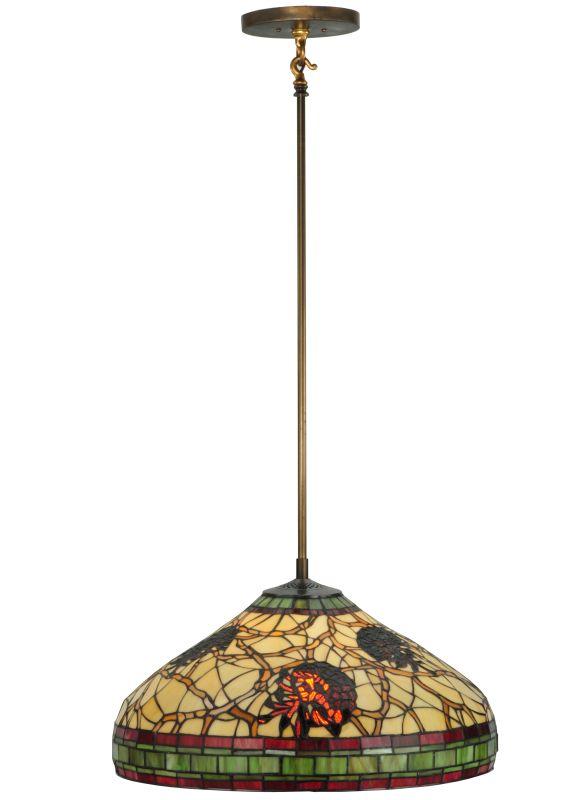 """Meyda Tiffany 135830 22.5"""" W Pinecone Dome Pendant Beige Burgundy"""