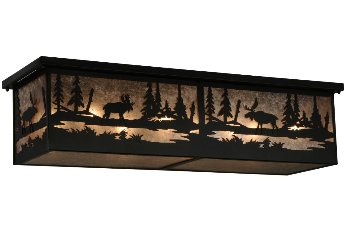 Meyda Tiffany 136275 Moose Atake Flush Mount Ceiling Fixture Black /