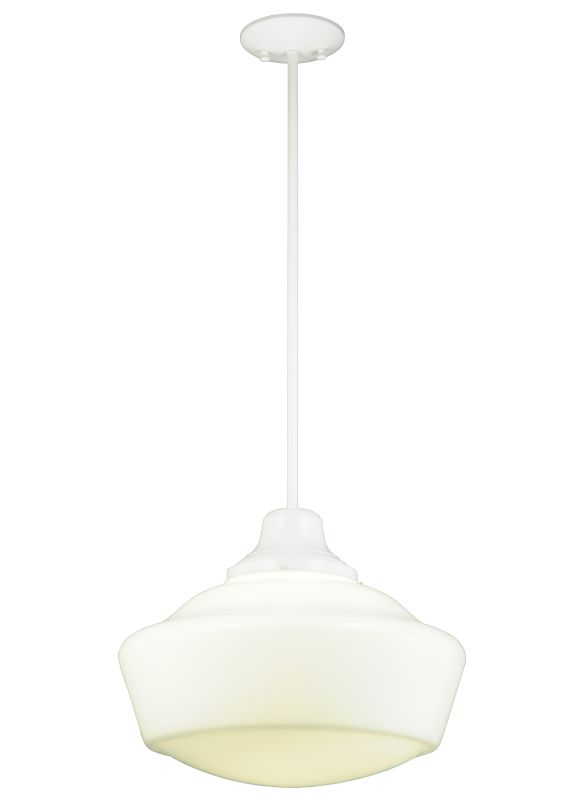 "Meyda Tiffany 138399 16"" W Schoolhouse Pendant White Indoor Lighting"