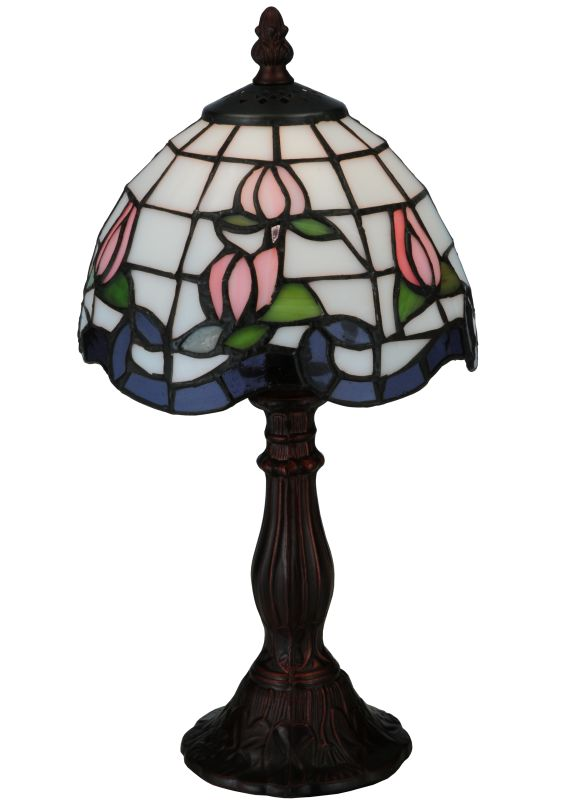 "Meyda Tiffany 139081 14"" H Roseborder Mini Lamp Pink Blue Lamps"
