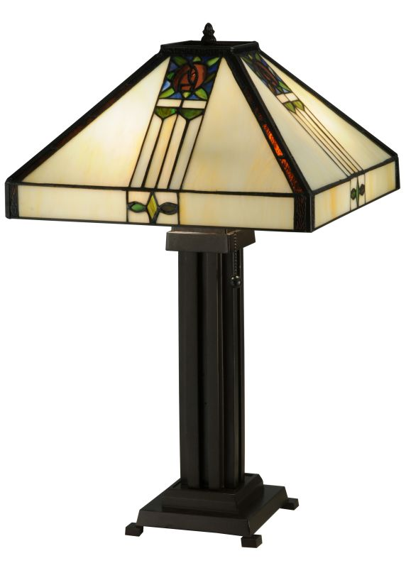 "Meyda Tiffany 139227 23.5"" H Pasadena Rose Table Lamp Beige Lamps"