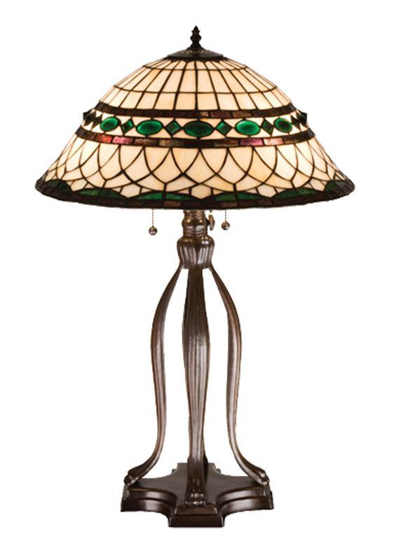"Meyda Tiffany 15409 30"" H Tiffany Roman Table Lamp Beige Green Lamps"