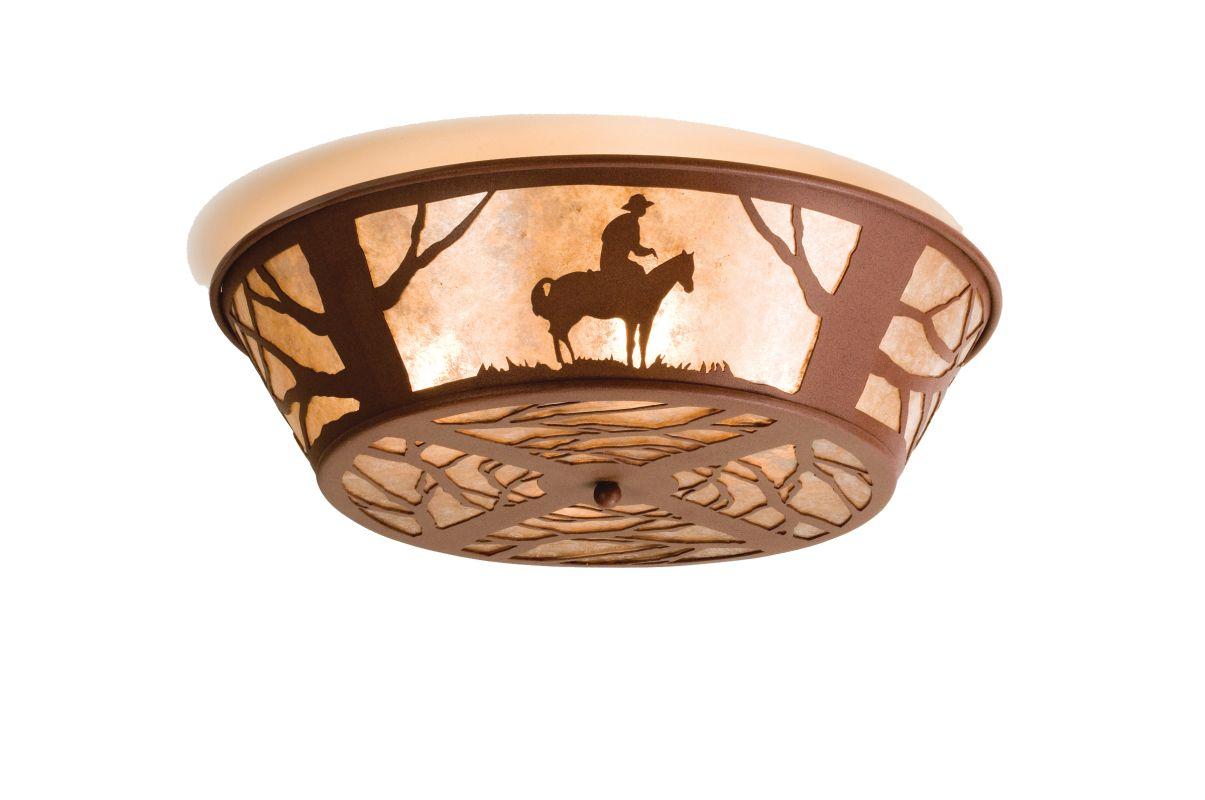"""Meyda Tiffany 15438 22"""" W Cowboy Flush Mount Ceiling Fixture Rust /"""