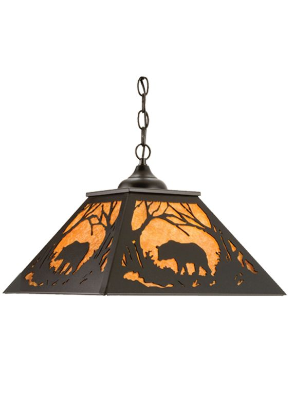 "Meyda Tiffany 15726 16"" Square Bear At Dawn Pendant Black / Amber Mica Sale $627.00 ITEM: bci2184025 ID#:15726 UPC: 705696157266 :"