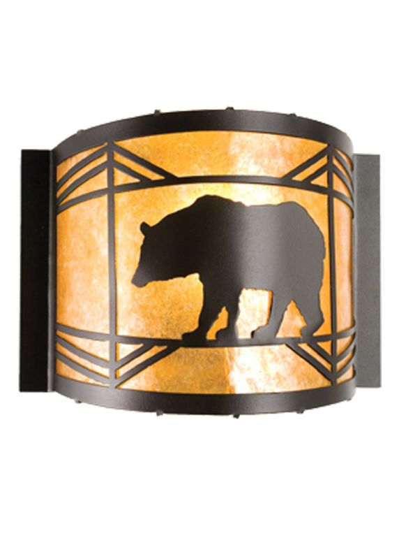 "Meyda Tiffany 17457 12"" W Lone Bear Wall Sconce Black / Amber Mica"