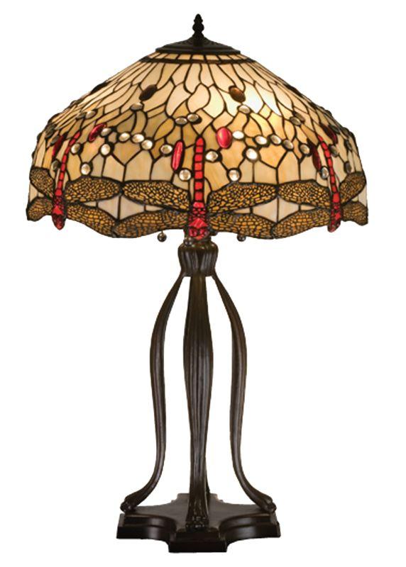 """Meyda Tiffany 17500 30.5"""" H Tiffany Hanginghead Dragonfly Table Lamp"""