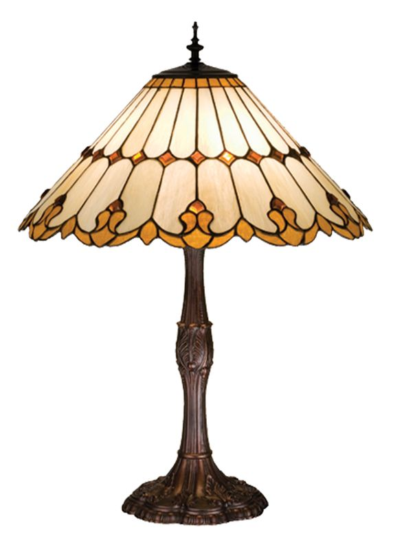 "Meyda Tiffany 17582 28.5"" H Nouveau Cone Table Lamp Beige Amber Lamps"
