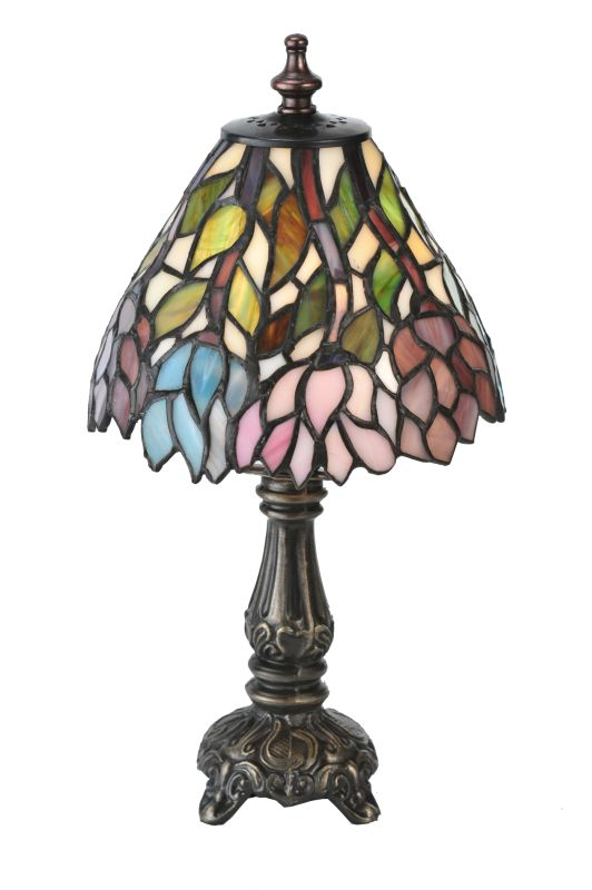 "Meyda Tiffany 18520 13"" H Wisteria Mini Lamp Beige Pink Purple Lamps"