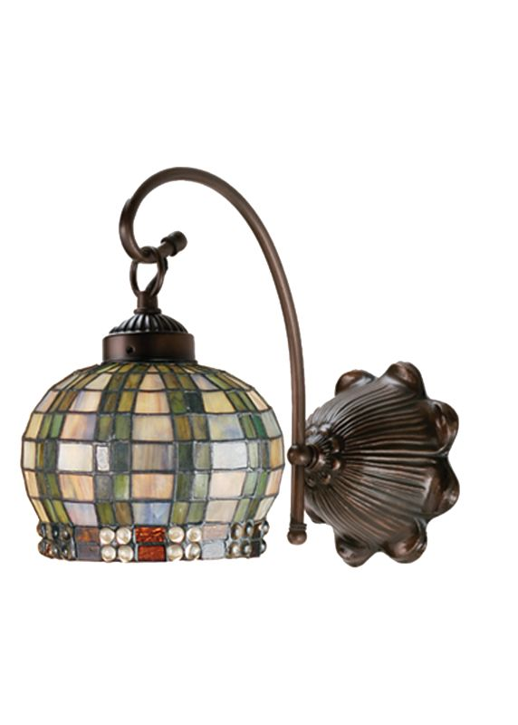 "Meyda Tiffany 19012 7"" W Jeweled Basket Wall Sconce Mahogany Bronze"
