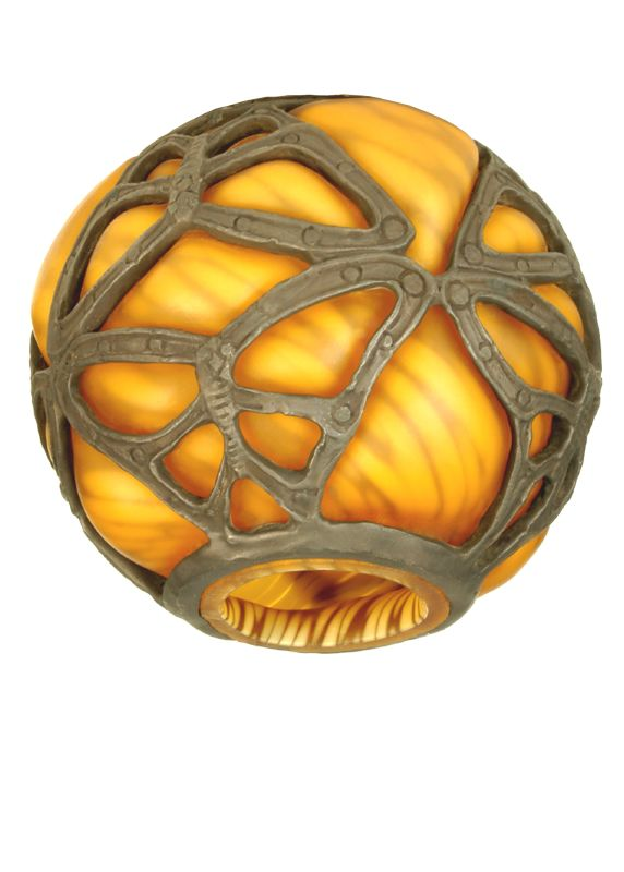 "Meyda Tiffany 21240 4.75"" H Castle Butterfly Orb Shade Amber Accessory"