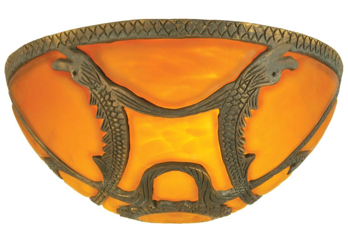 "Meyda Tiffany 22080 9.5"" Victorian Art Glass Gothic Dome Shade Amber"