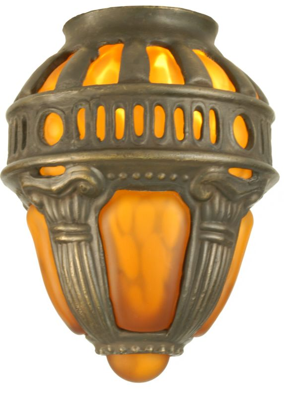 Meyda Tiffany 22087 Victorian Art Glass Gothic Crown Shade Amber