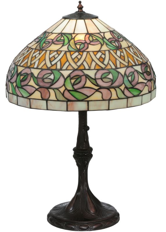 "Meyda Tiffany 24752 16"" H Ivy Basket Table Lamp Beige Purple / Blue"