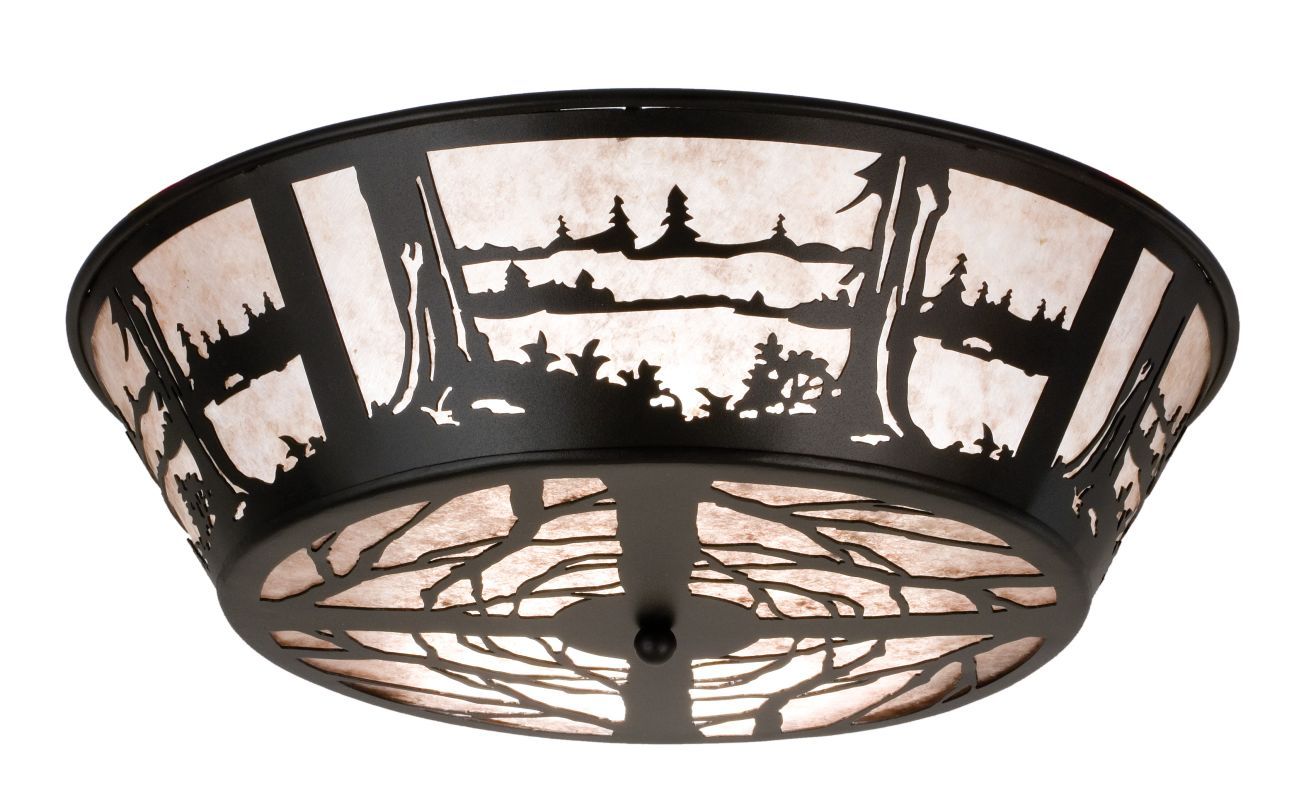 "Meyda Tiffany 26223 22"" W Quiet Pond Flush Mount Ceiling Fixture Black"