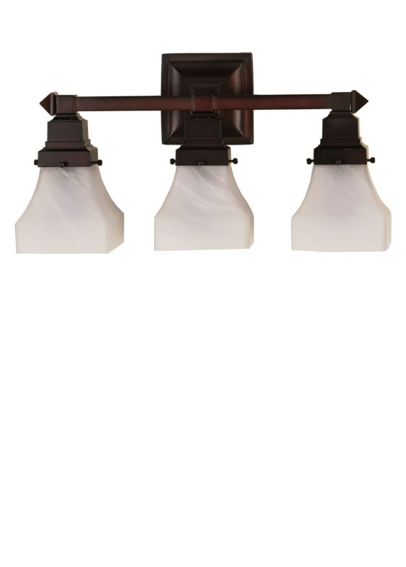"Meyda Tiffany 26310 18"" W Bungalow White Alabaster Swirl 3 Light"