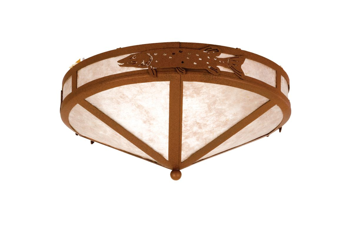"Meyda Tiffany 26392 16"" W Pike Flush Mount Ceiling Fixture Rust /"