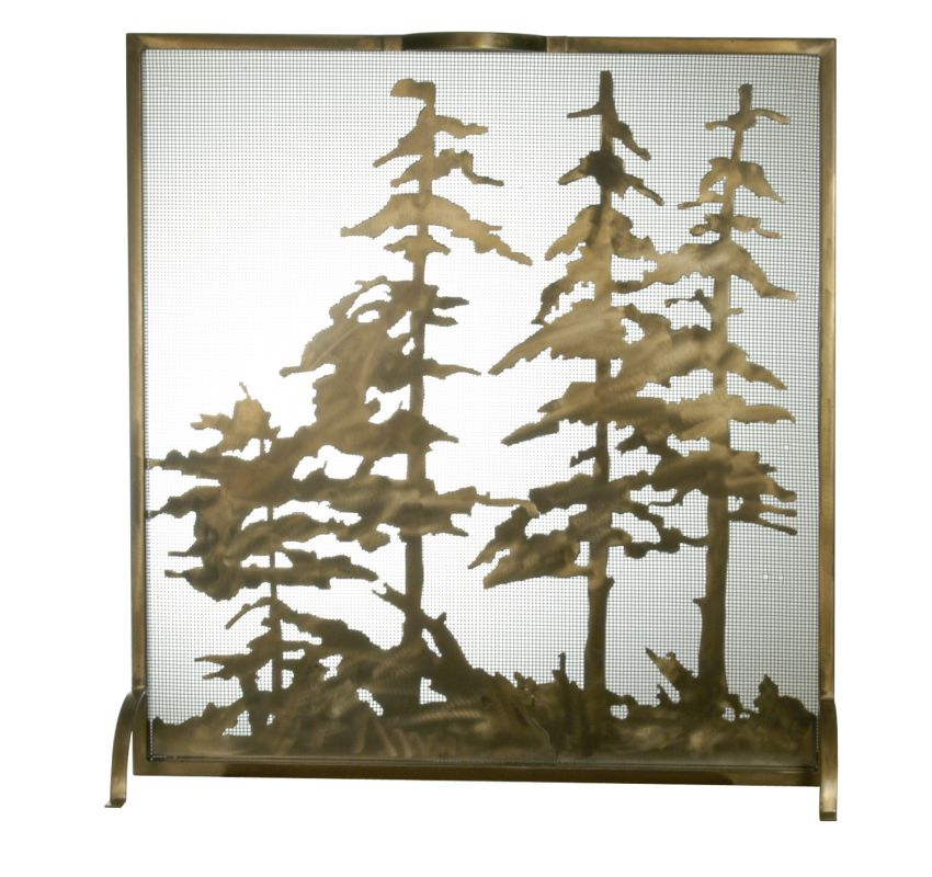 "Meyda Tiffany 27047 32"" W X 33"" H Tall Pines Fireplace Screen Antique"