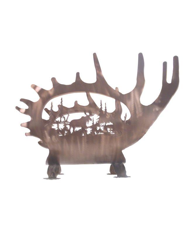 """Meyda Tiffany 29076 22"""" W Moose Antler Log Holder Antique Copper"""