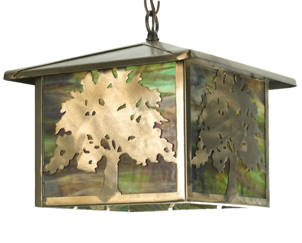 "Meyda Tiffany 29274 12"" Square Oak Tree Lantern Pendant Antique Copper"