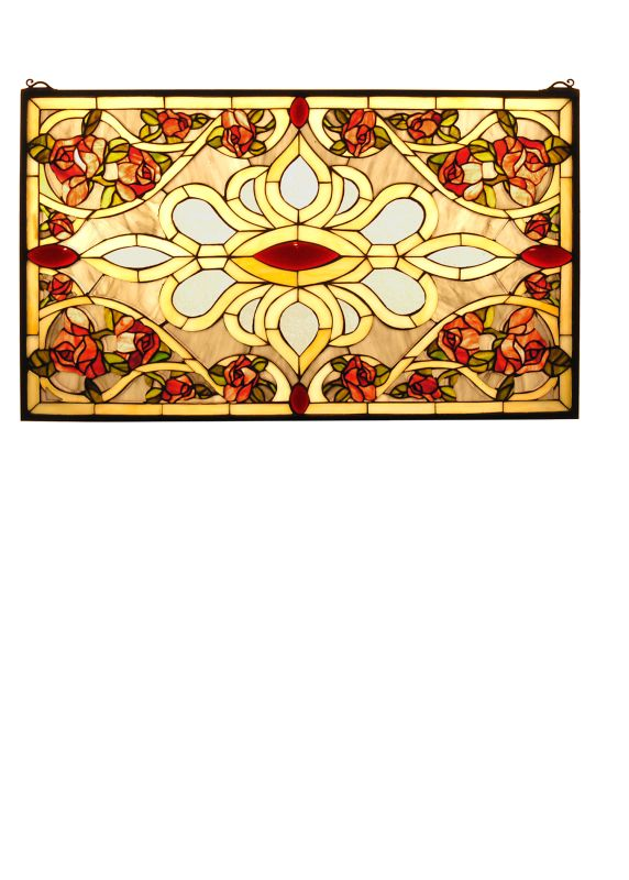 "Meyda Tiffany 31359 32"" W X 19.25"" H Bed Of Roses Stained Glass Window"
