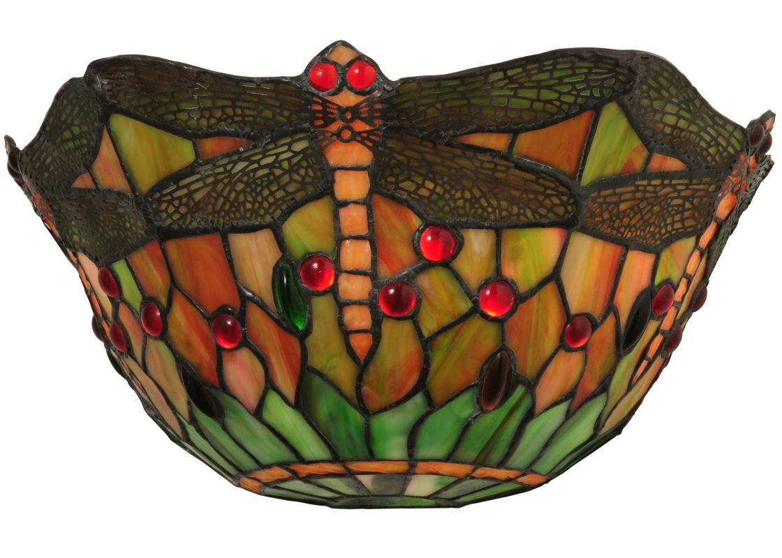"Meyda Tiffany 48912 14"" W Tiffany Dragonfly Wall Sconce Orange Red"