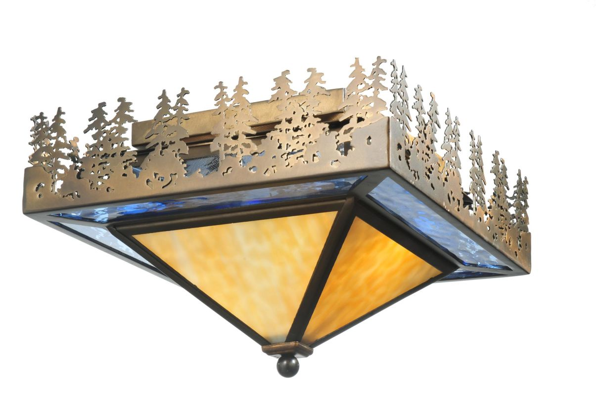 "Meyda Tiffany 50591 22.5"" W Pine Lake Flush Mount Ceiling Fixture"
