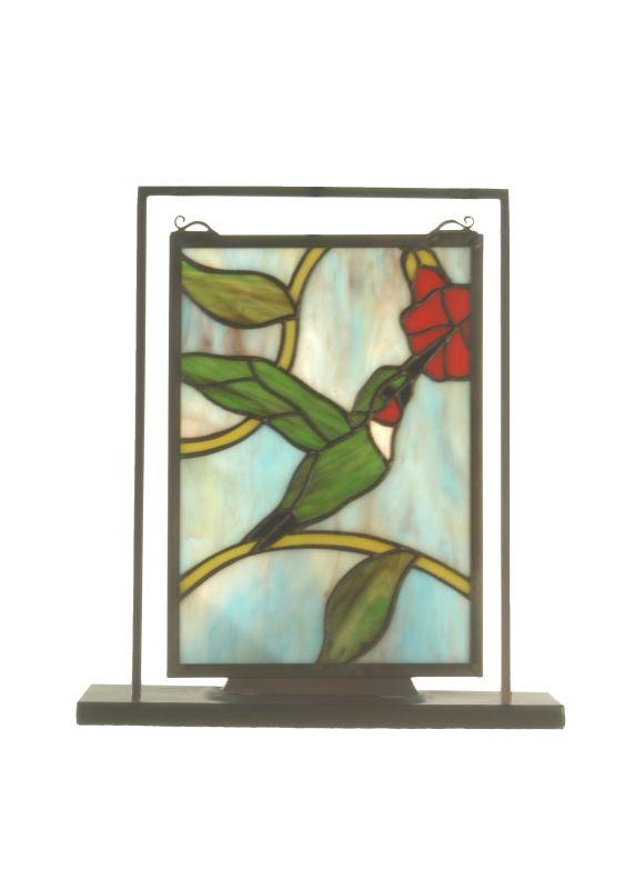 "Meyda Tiffany 52312 9.5"" W X 10.5"" H Hummingbird Lighted Mini Tabletop"
