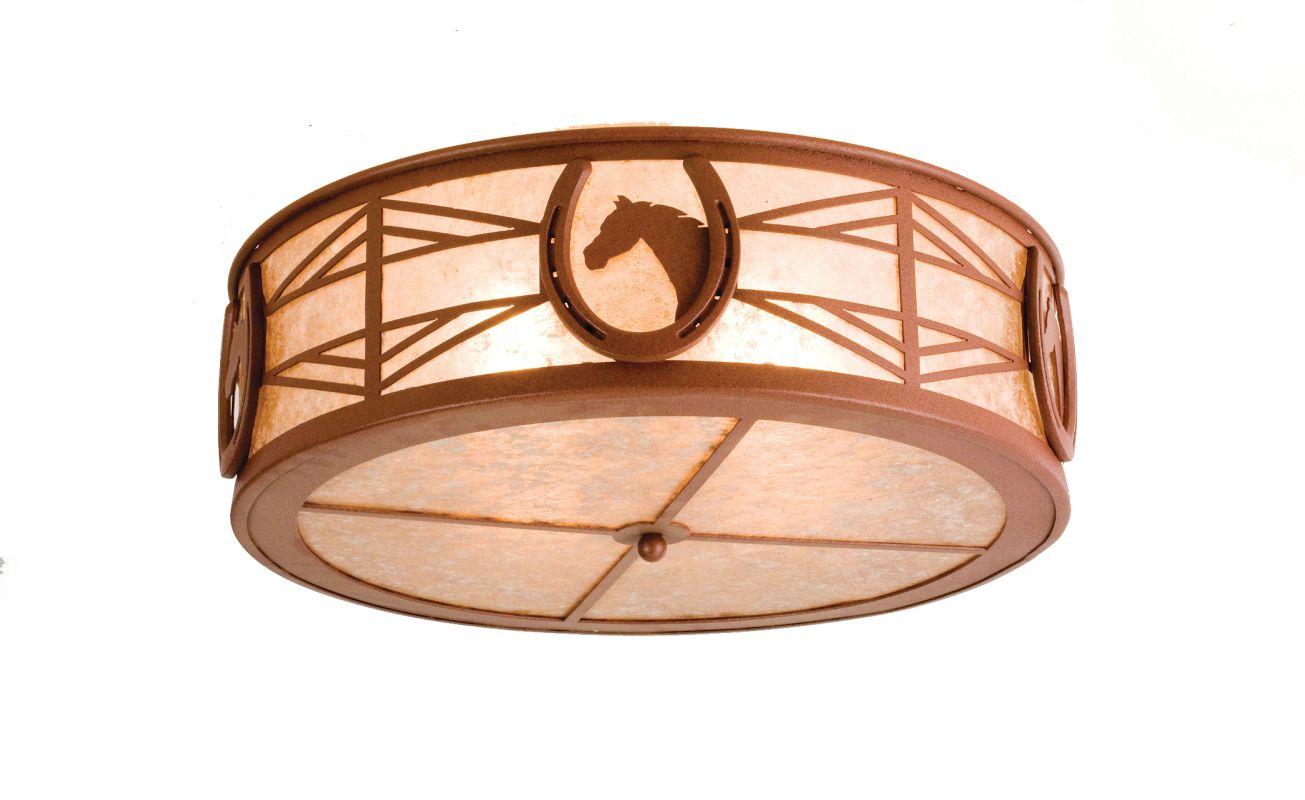 "Meyda Tiffany 65663 22"" W Horseshoe Flush Mount Ceiling Fixture Rust /"
