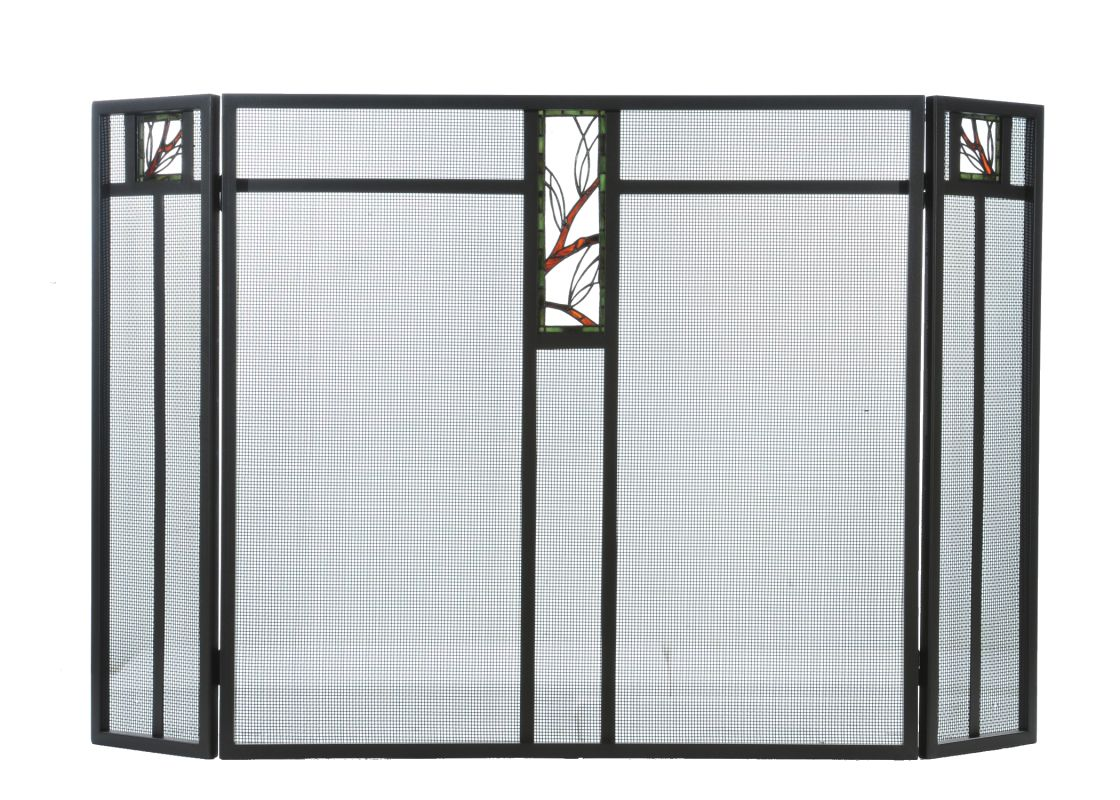 "Meyda Tiffany 67327 52"" W X 34"" H Pine Branch Glass Fireplace Screen"