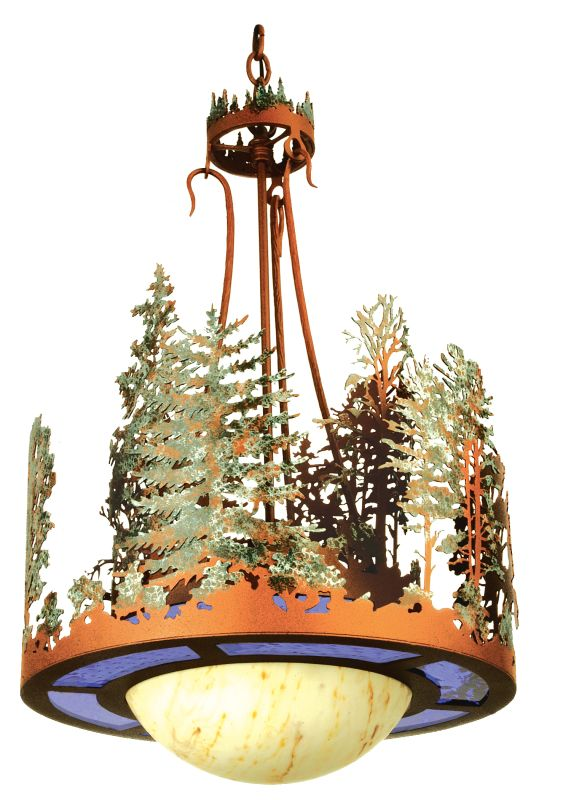 "Meyda Tiffany 68137 18"" W Forest Inverted Pendant Rust / Green Indoor"