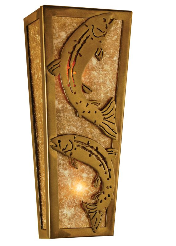 """Meyda Tiffany 69242 5"""" W Leaping Trout Wall Sconce Antique Copper /"""