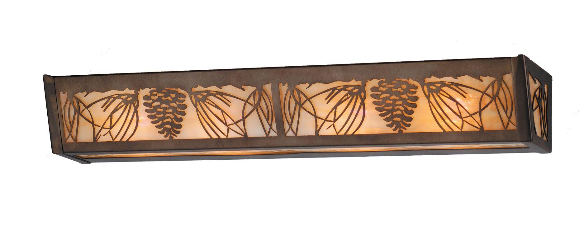 "Meyda Tiffany 70492 30"" W Mountain Pine Vanity Light Antique Copper"