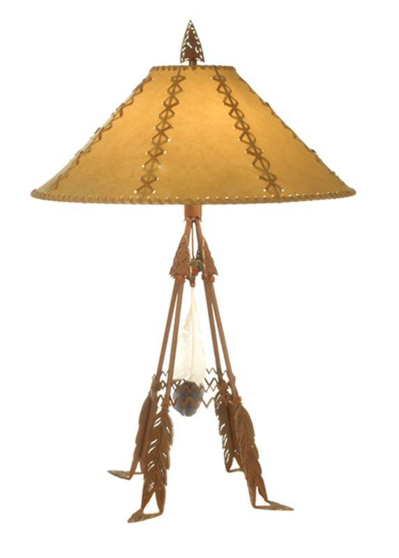 "Meyda Tiffany 71017 33"" H Arrowhead & Feather Faux Leather Shade Table"