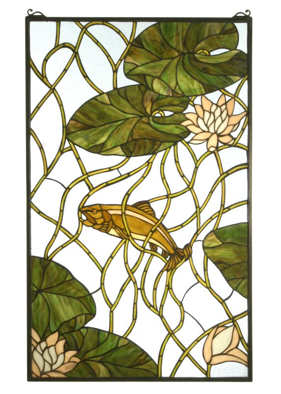 """Meyda Tiffany 71945 24"""" W X 38"""" H Trout & Water Lilies Stained Glass"""