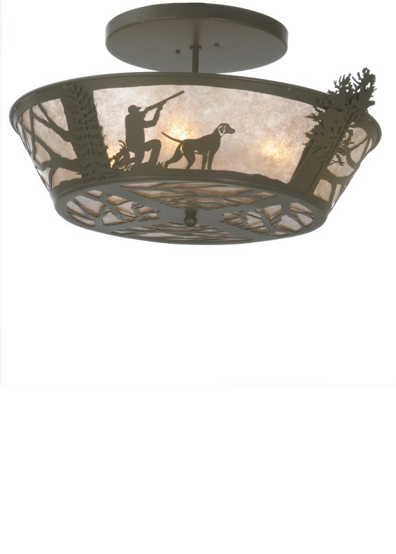 "Meyda Tiffany 81915 25"" W Quail Hunter with Dog Flush Mount Ceiling"
