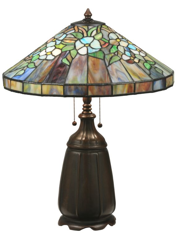 "Meyda Tiffany 98010 24"" H Handel Dogwood Table Lamp Purple / Blue"