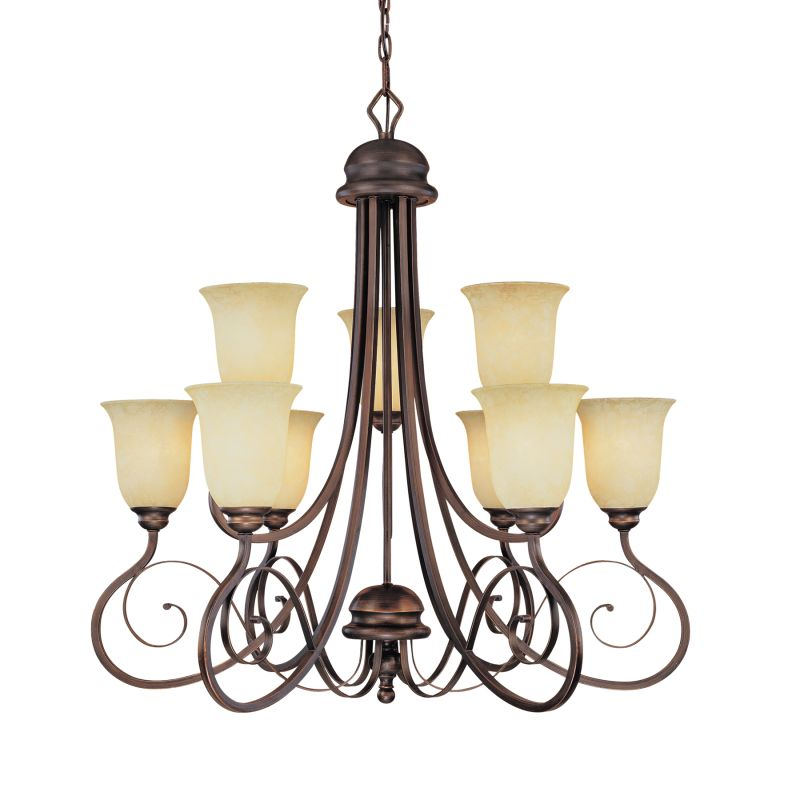 Millennium Lighting 1059 Chateau 9 Light Two Tier Chandelier Rubbed