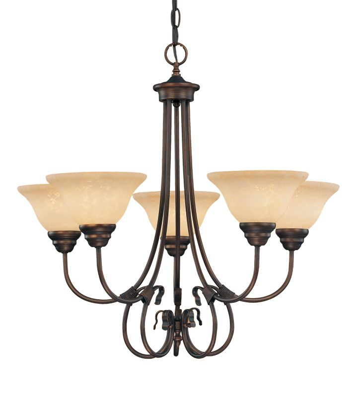 Millennium Lighting 1095 Fulton 5 Light Single Tier Chandelier Rubbed