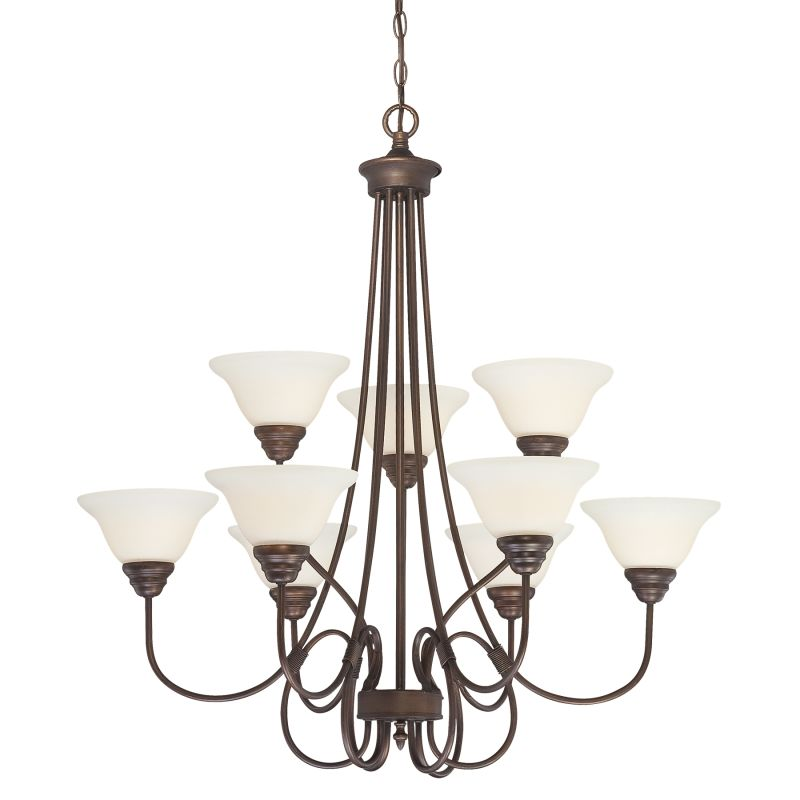 Millennium Lighting 1369 Fulton 9 Light Two Tier Chandelier Rubbed