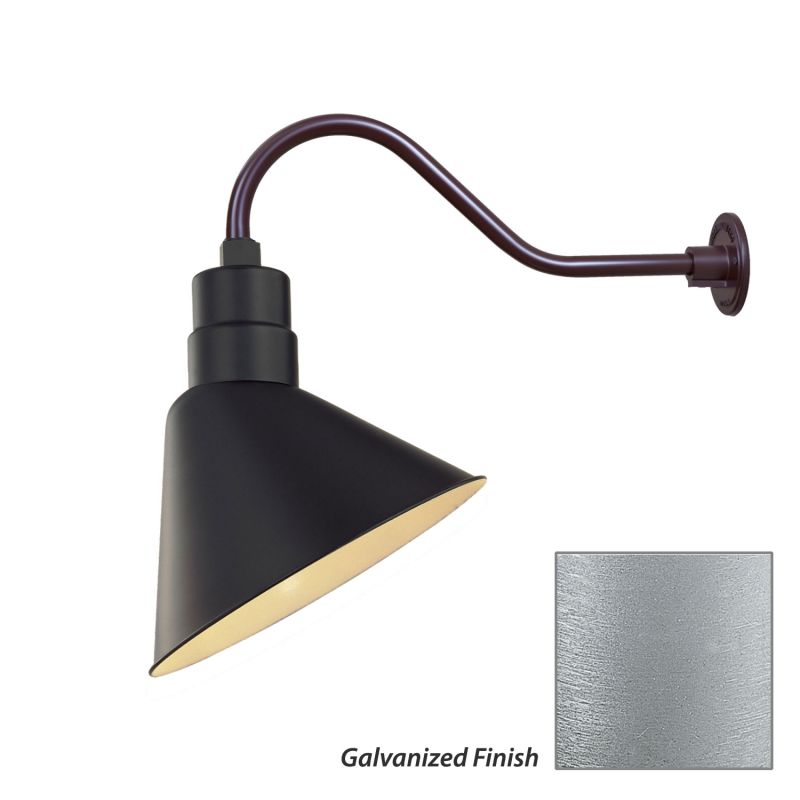 Millennium lighting galvanized r series 1 light outdoor wall sconce with 12 angle shade and 21 - Gooseneck wall sconce ...