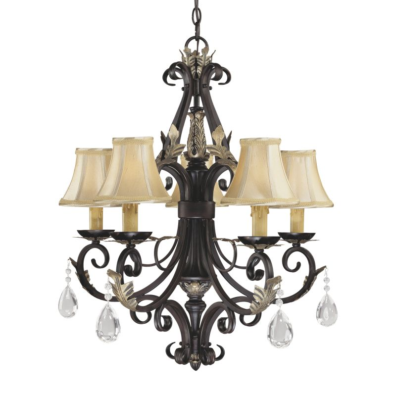 Minka Lavery ML 775 5 Light 1 Tier Candle Style Crystal Chandelier
