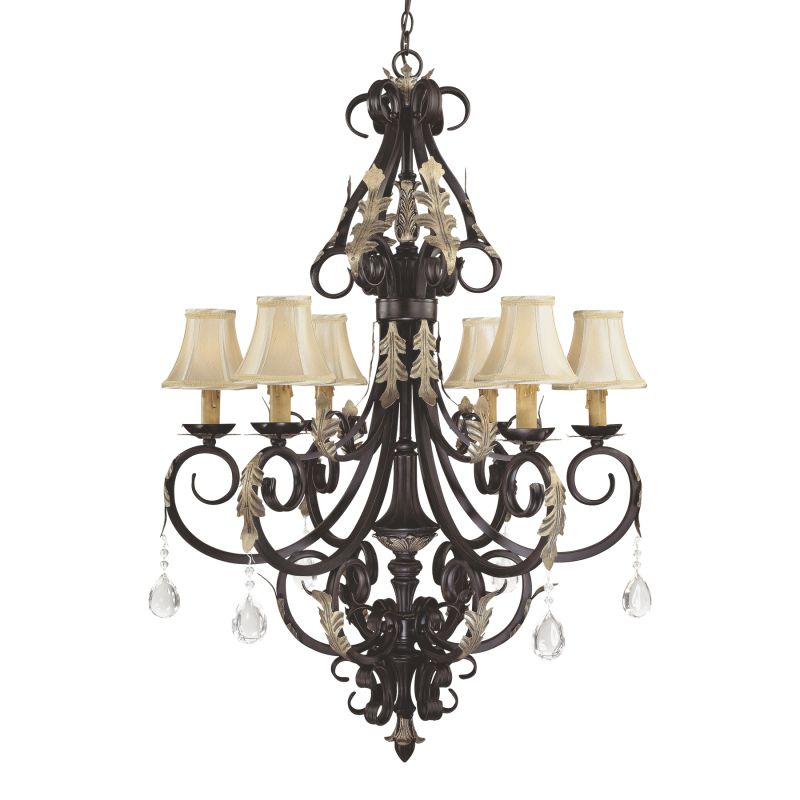 Minka Lavery ML 776 6 Light 1 Tier Candle Style Crystal Chandelier