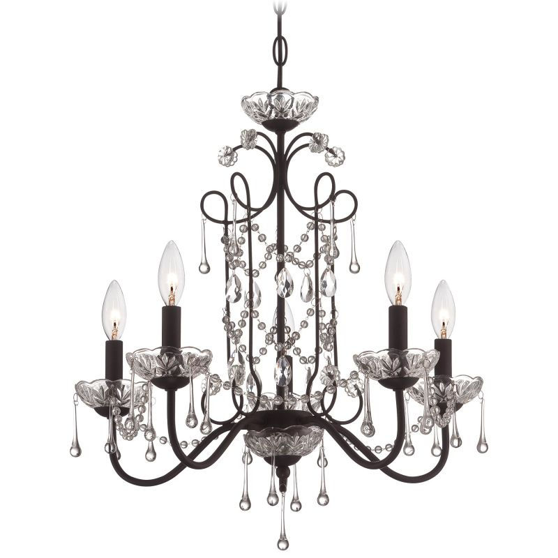 "Minka Lavery 3135 5 Light 22.5"" Height 1 Tier Chandelier Aged Kinston"